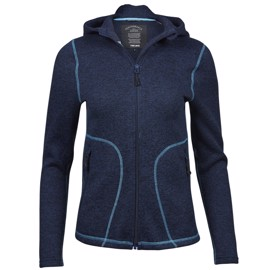 Womens Outdoor Hooded Fleece Navy/Turquoise