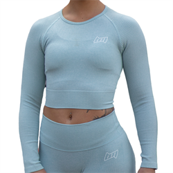 BM Seamless Ribbed Long Sleeve Cropped Top Sky Blue