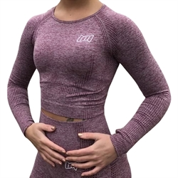 BM Seamless Long Sleeve Cropped Top Wine Red