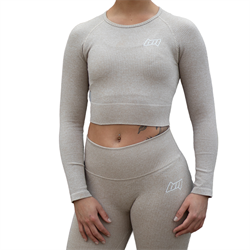 BM Seamless Ribbed Long Sleeve Cropped Top Khaki