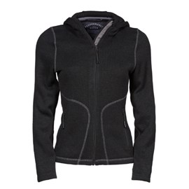 Womens Outdoor Hooded Fleece Black/Grey